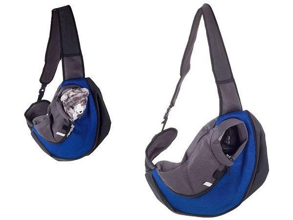 Přepravní batoh přes rameno pro psy, kočky- rozměr: 48x 29cm, modrý