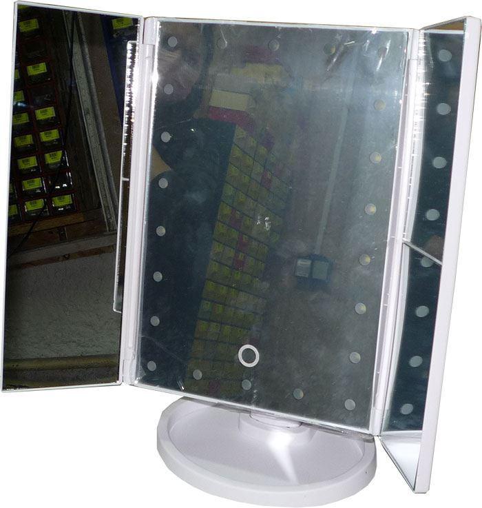 Kosmetické zrcátko skládací s LED osvětlením