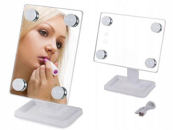 Kosmetické zrcátko LED- Bílé