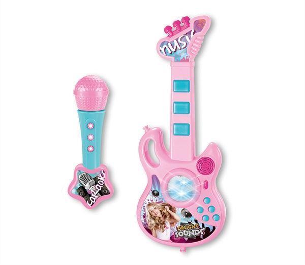 Dětská kytara s mikrofonem, růžová