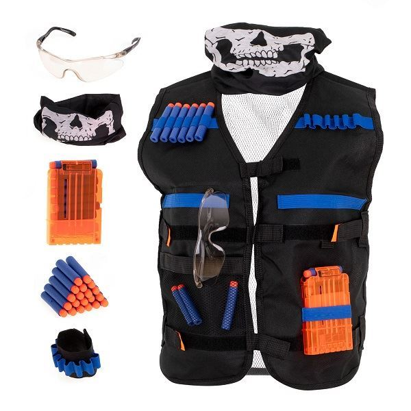 Taktická vesta Nerf s příslušenstvím, černý šátek