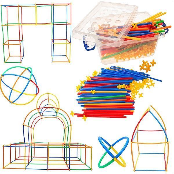 Kreativní stavebnice- stavění ze slámek 170 ks.