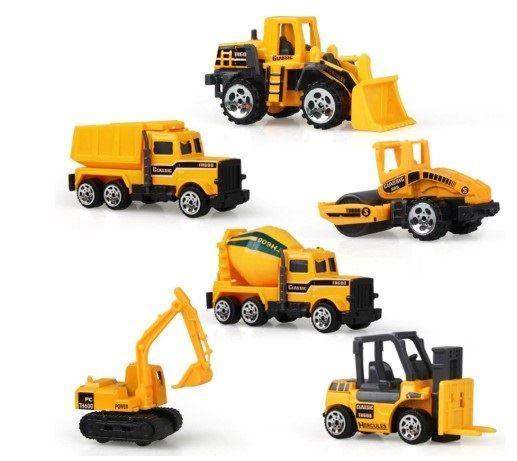 Auta stavební 6ks žlutá