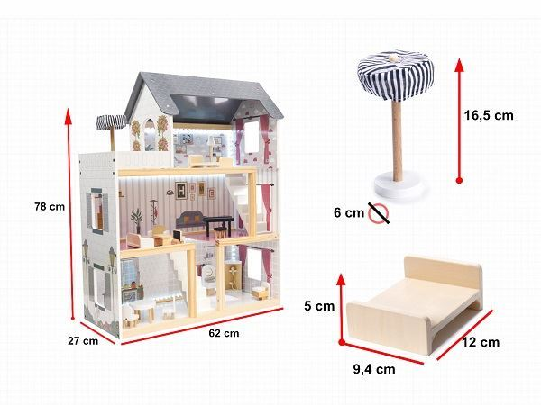 Dřevěný domeček pro panenky LED, 78cm