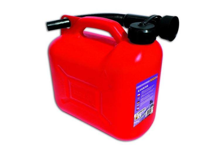 Plastový kanystr na benzín, PHM, 5 L, červený