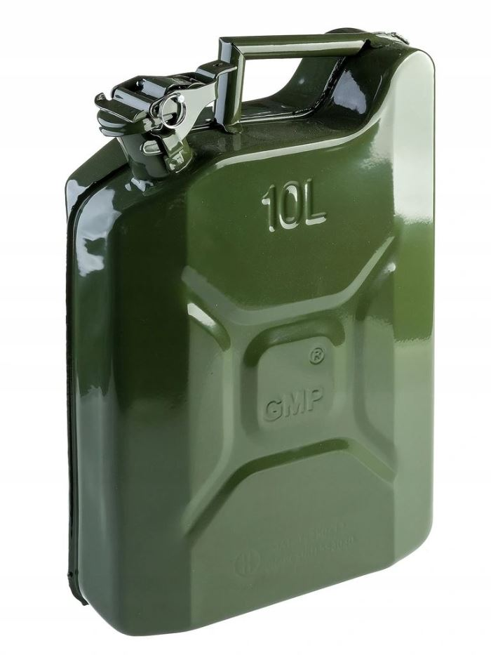 Plechový kanystr na benzín, PHM, 10 L, GMP, zelený