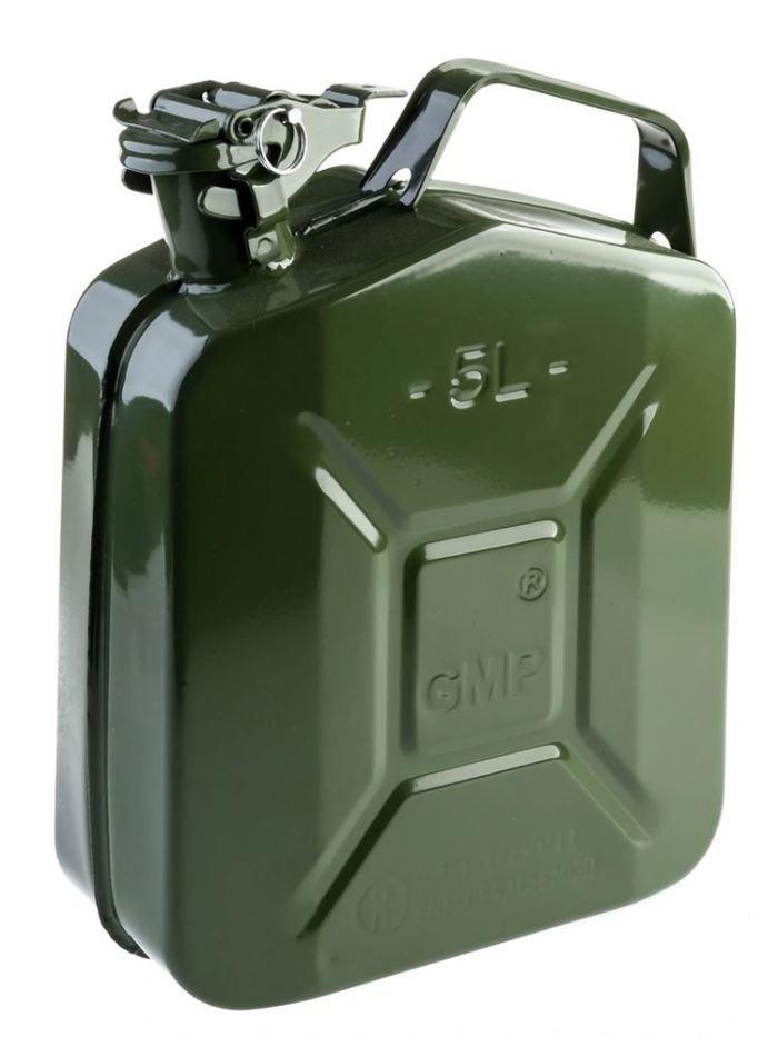 Plechový kanystr na benzín, PHM, 5 L, GMP, zelený
