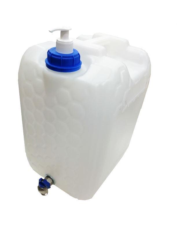 Plastový kanystr na vodu 20l s kohoutkem a dávkovačem mýdla