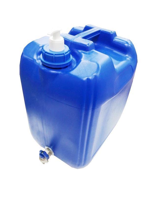 Plastový kanystr modrý na vodu 20l s kohoutkem a dávkovačem mýdla