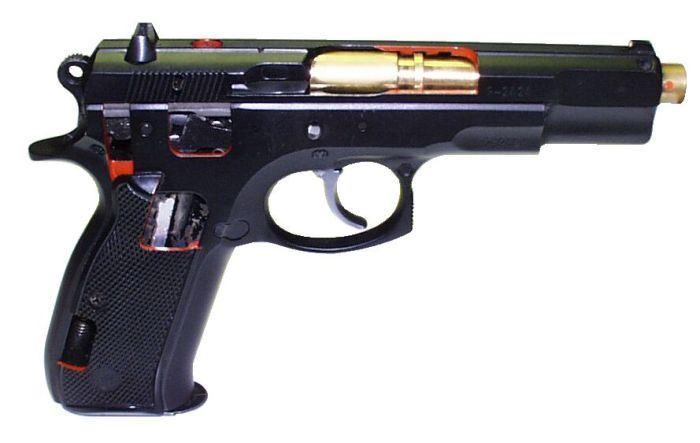 Laserová zbraň - CZ75 řez - červený laser (CV)