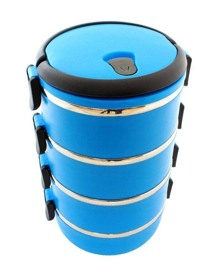 Termo jídlonosič se sklopnými uchy 4 x 0,5l modrý