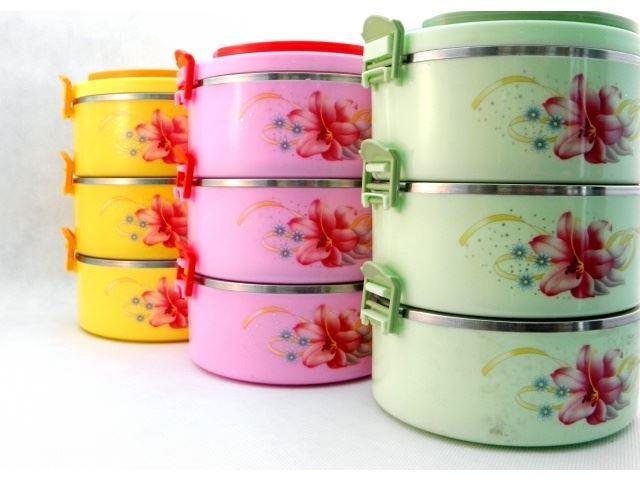 Termo jídlonosič se sklopnými uchy 3x 0,5l, různé barvy