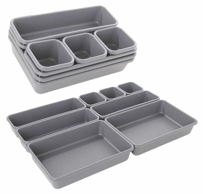 Modulární organizér do zásuvky 8 prvků - šedý