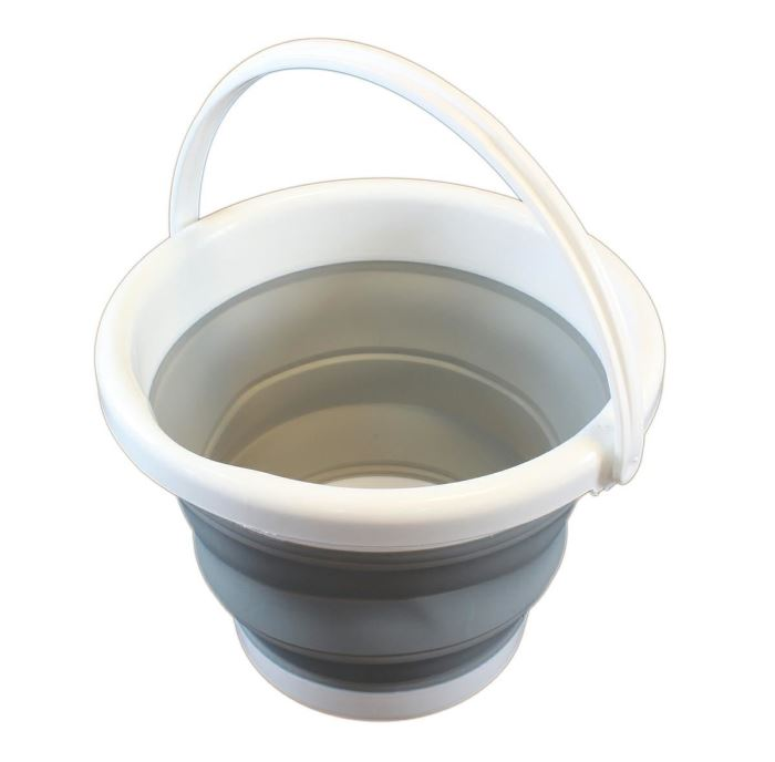 Skládací silikonový kbelík 5L šedý