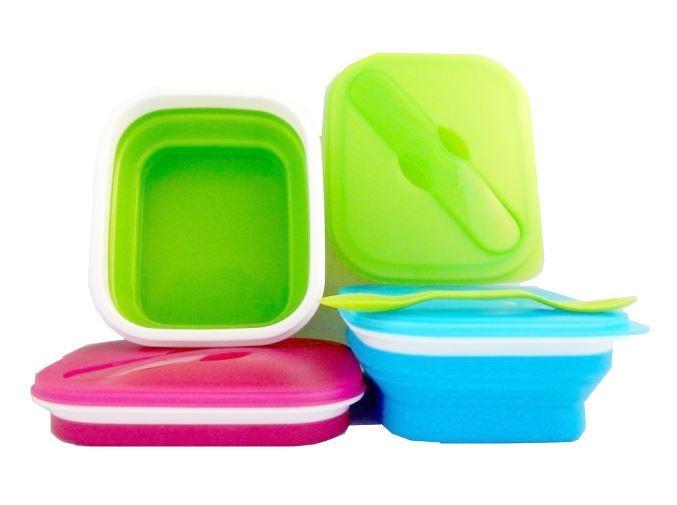 Skládací silikonová miska s příbory  - zelená