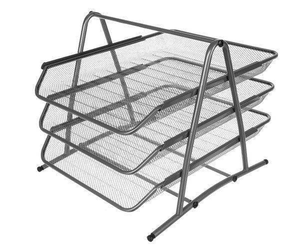 Drátěný stolní odkladač kancelářský 3-šuplík šedý