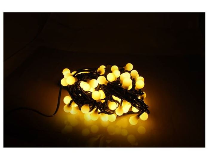 Vánoční  osvětlení řetěz  kuličky 100LED, 10,6m,  bílá teplá