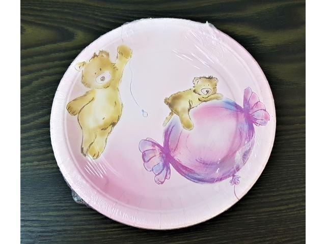 Papírové talířky  Medvídek růžový, 18cm, 8ks