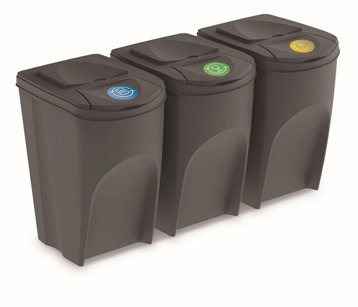 Sada 3 odpadkových košů SORTIBOX šedý kámen, objem 3x35L, Prosperplast