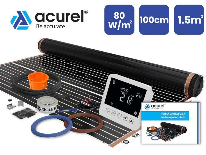 Topná folie, SET s termostatem, 80W/m2, 1,5m2, ACUREL