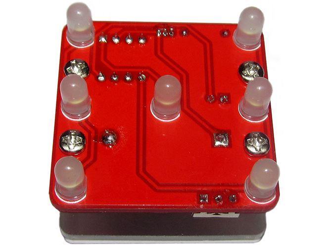 Hrací kostka elektronická vibrační červená, STAVEBNICE