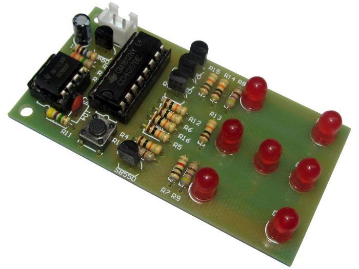 Hrací kostka elektronická červená, STAVEBNICE ISCK057A