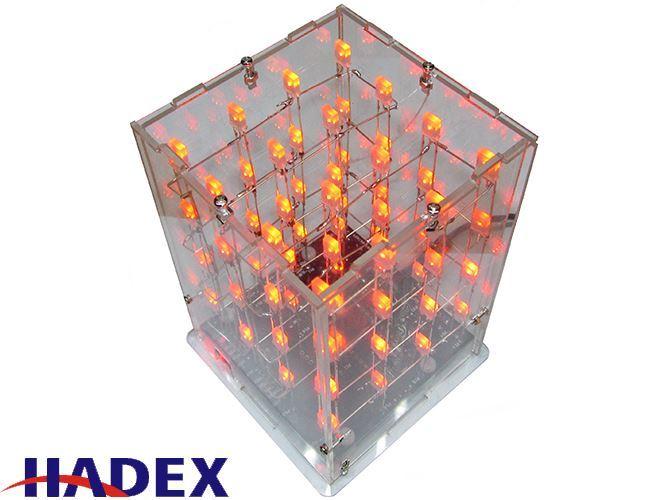 Světelná krychle LED 3D 4x4x4 dvoubarevná LED, STAVEBNICE