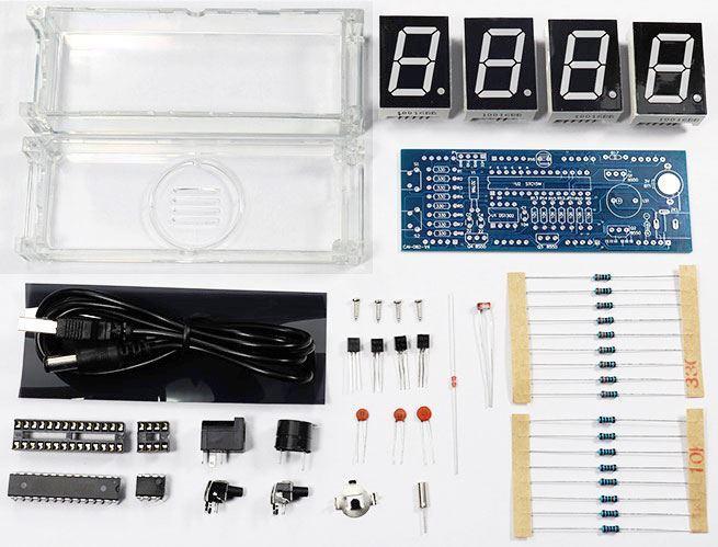 Digitální hodiny LED 082V4 - modré, STAVEBNICE