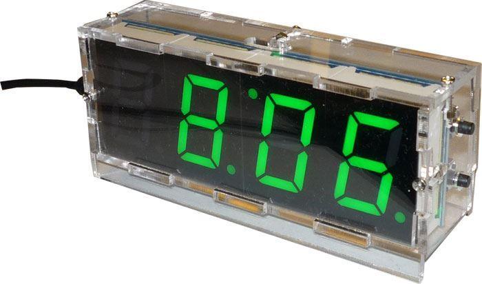 Digitální hodiny LED- zelené, sestavená stavebnice W311