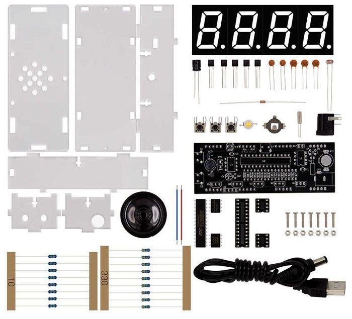 Digitální hodiny LED- bílé s teploměrem a reproduktorem STAVEBNICE