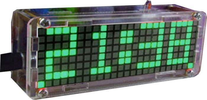 Digitální hodiny LED matrix s teploměrem - zelené, STAVEBNICE