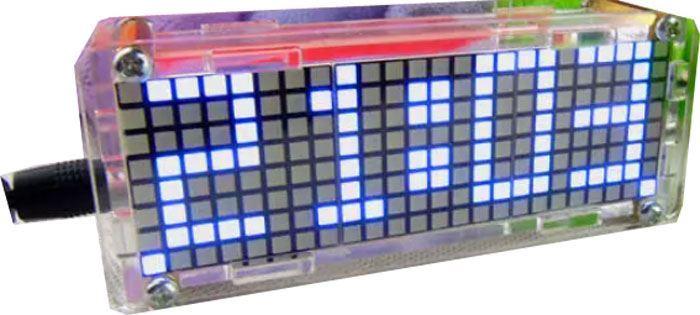 Digitální hodiny LED matrix s teploměrem - modré, STAVEBNICE